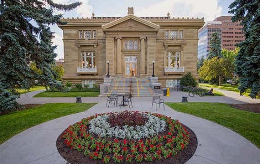 Central Memorial Library front view in summer in Calgary