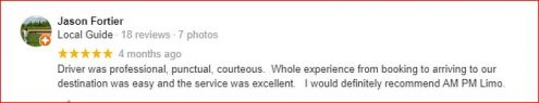 am pm limousine review from customer