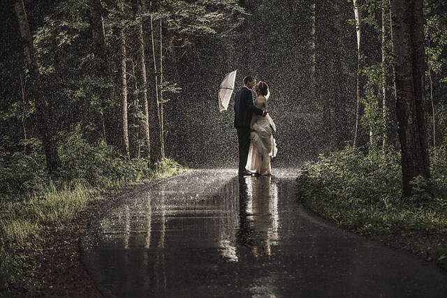Bride and groom kissing in the rain on a path between trees, under white umbrella