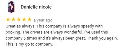 Limo Company Customer 5 star Google Review