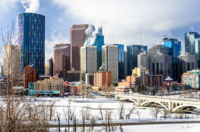 the City of Calgary downtown skyline on winter day