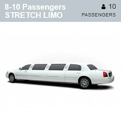 White Stretch Limousine (8-10 Passengers)