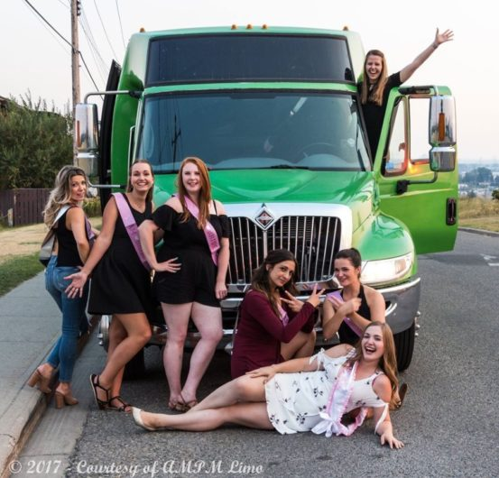 Stagette photo with green Godzilla Party Bus